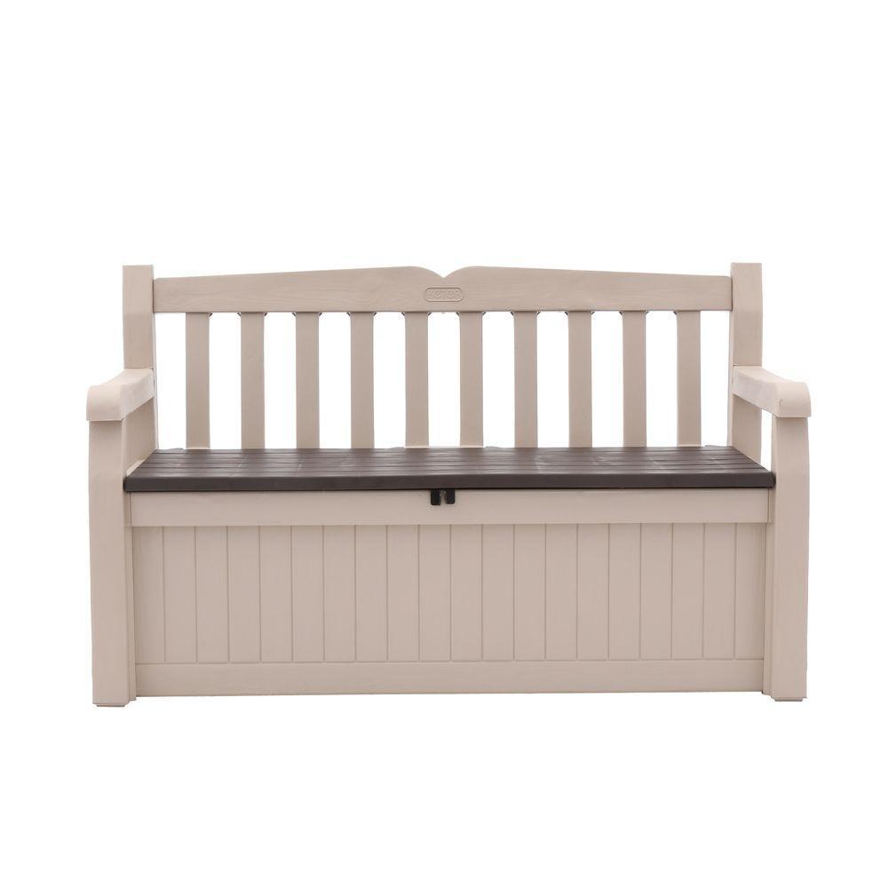 Keter Eden 70 Gal Outdoor Garden Patio Deck Box Bench In Beige And Brown 212745 The Home Depot