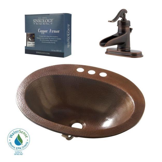 sinkology pfister all-in-one seville copper drop-in bathroom sink