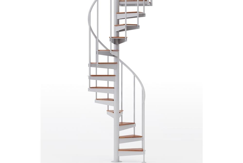 Mylen Stairs Condor White Interior 42 Diameter 13 Treads With 1 | Spiral Stairs For Small Spaces | Second Floor | Low Budget | Square | Low Cost Simple | Metal