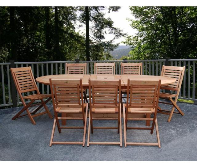Amazonia Milano Grand  Piece Extendable Fsc Eucalyptus Wood Patio Dining Set