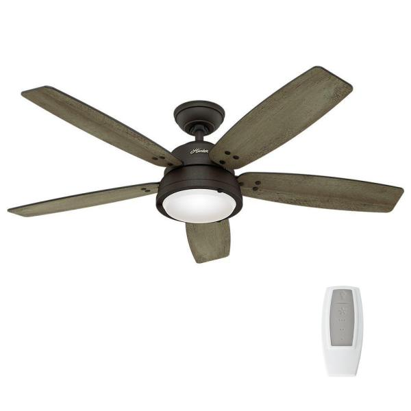 Hunter Channelside 52 in  LED Indoor Outdoor Noble Bronze Ceiling     LED Indoor Outdoor Noble Bronze Ceiling Fan with Remote Control 59040   The  Home Depot