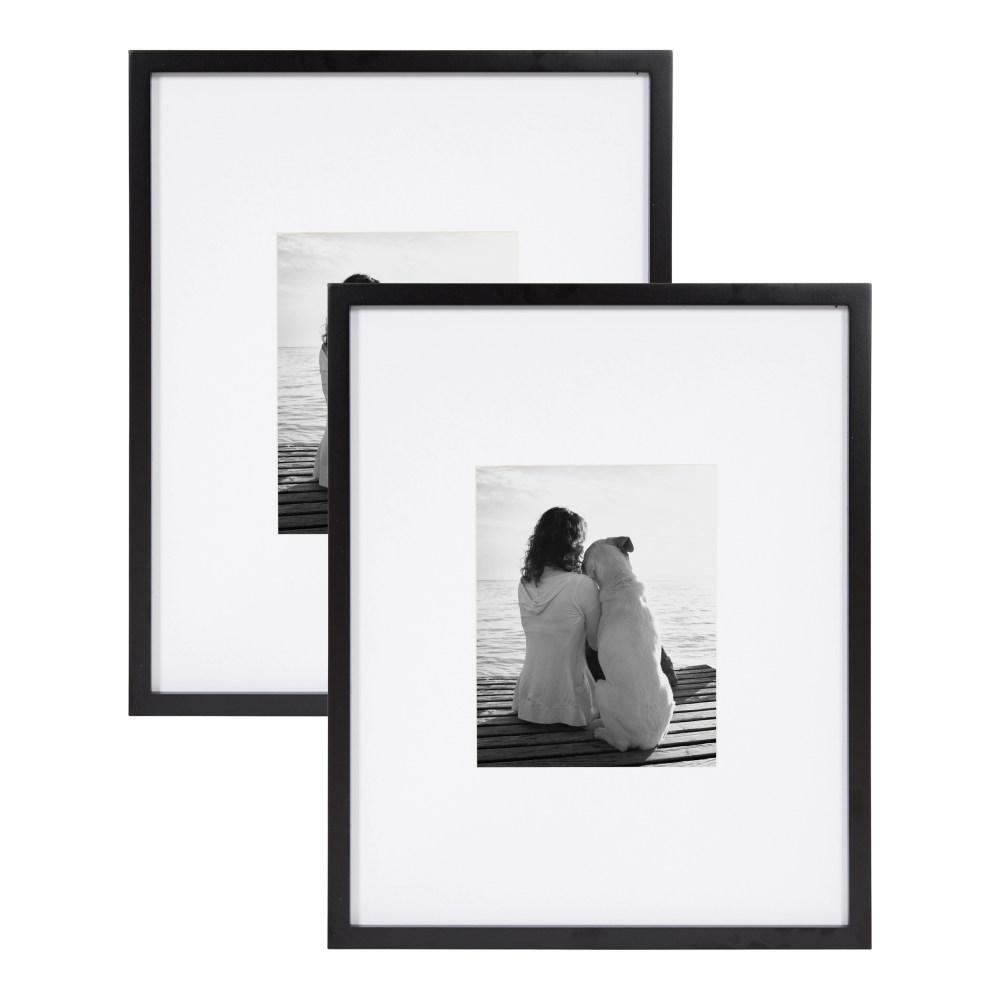 designovation gallery 16x20 matted to 8x10 black picture frame set of 2 213614 the home depot
