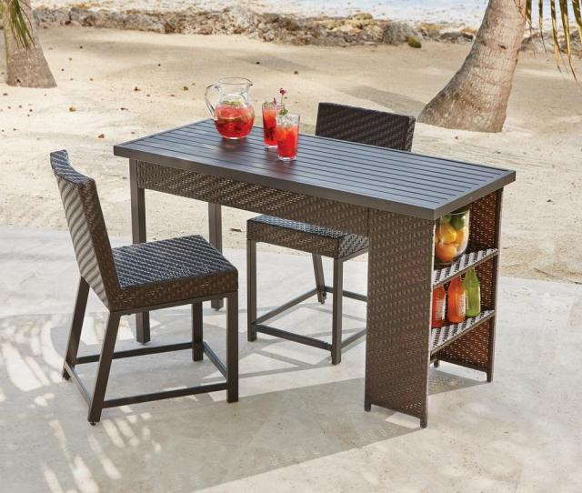 Rehoboth  Piece Wicker Outdoor Balcony Height Dining Set