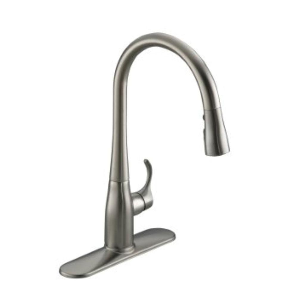 Kohler Simplice Single Handle Pull Down Sprayer Kitchen Faucet In