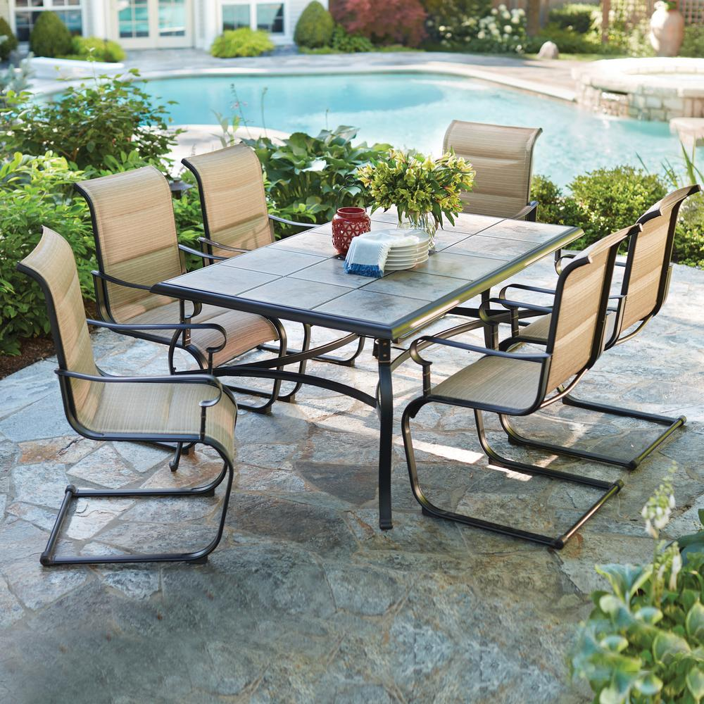 Hampton Bay Belleville  Piece Padded Sling Outdoor Dining Set Fcscst The Home Depot