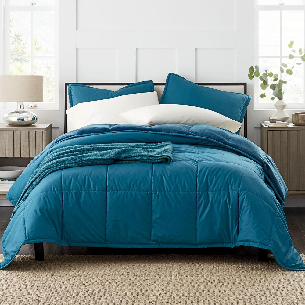 the company store montana down alternative 2 piece teal blue solid cotton twin comforter set 50306p t tealblu the home depot