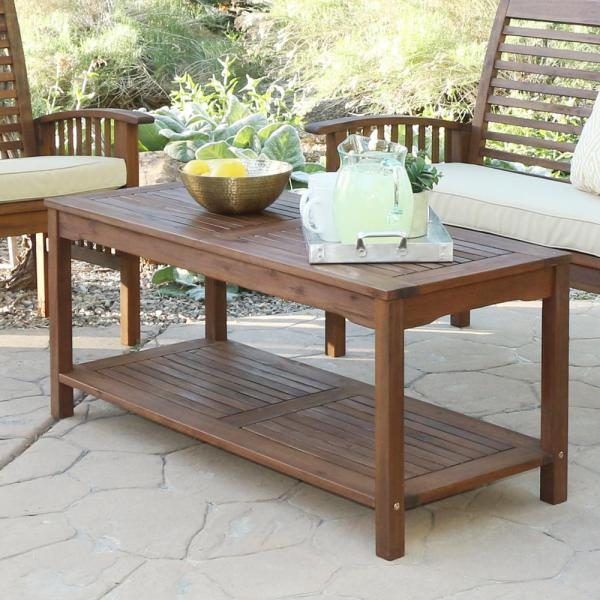 Walker Edison Furniture Company Boardwalk Dark Brown Acacia Wood     Walker Edison Furniture Company Boardwalk Dark Brown Acacia Wood Outdoor  Coffee Table