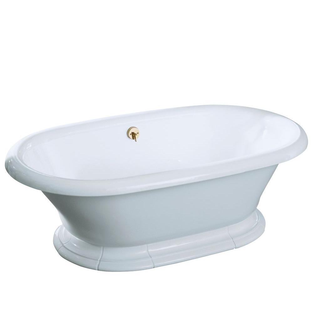 KOHLER Vintage 6 Ft Center Drain Free Standing Cast Iron Bathtub In White K 700 0 The Home Depot