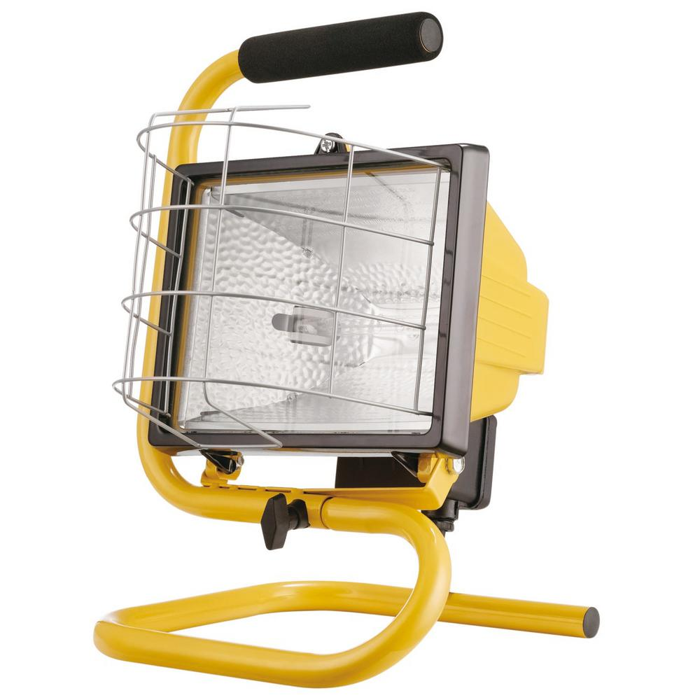 Globe Electric 500W Portable Halogen Yellow Work Light 6050401 The Home Depot
