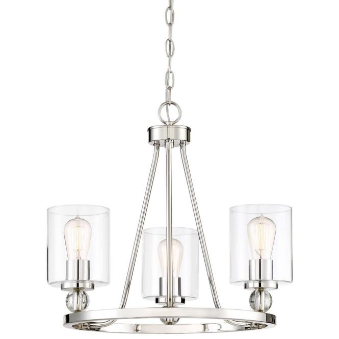 Minka Lavery Studio 5 Collection 3 Light Polished Nickel Chandelier With Clear Glass Shades