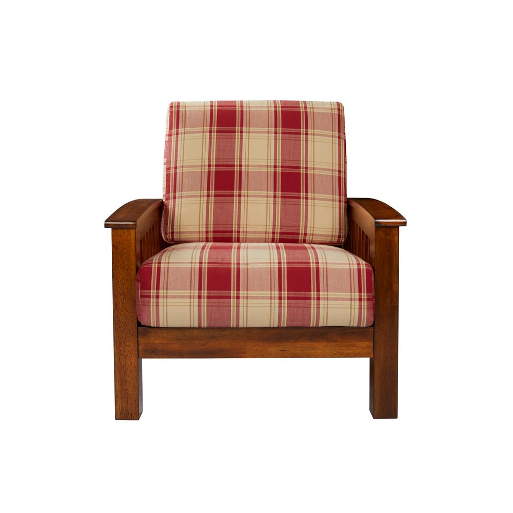 handy living omaha mission style arm chair with exposed wood frame in red plaid 340c ypd47 175c the home depot