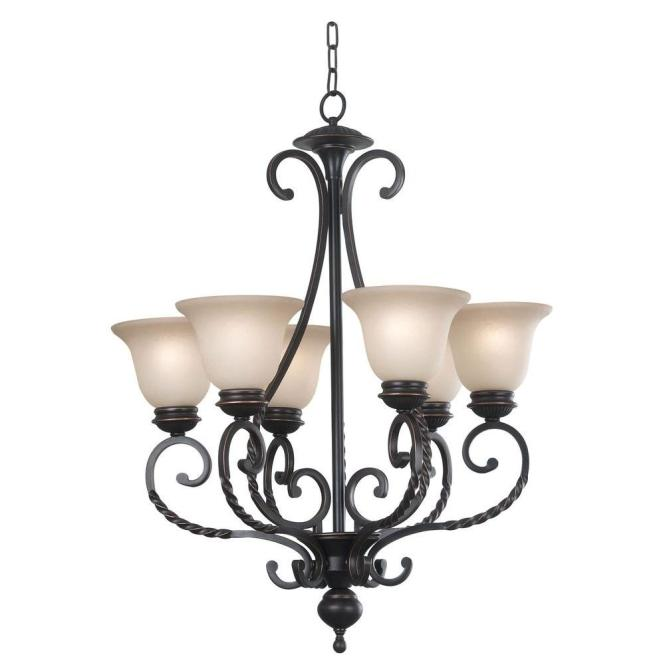 Kenroy Home Oliver 6 Light Oil Rubbed Bronze Chandelier With Amber Glass Shade