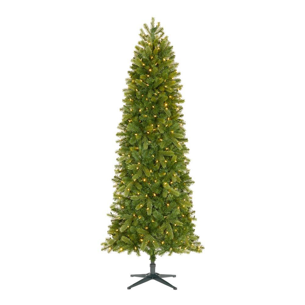 Home Accents Holiday 7 5 Ft Manchester Slim White Spruce Led Pre Lit Artificial Christmas Tree With 350 Surebright Color Changing Lights Tg76p2900d01 The Home Depot