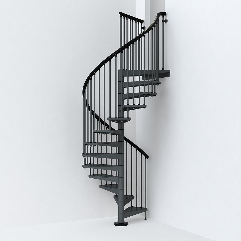 Sky030 55 In Iron Grey Spiral Staircase Kit K26286 The Home Depot | Iron Spiral Staircase For Sale | Grey Exterior | Wrought Iron | Ornate | Helical Staircase | Architectural Salvage