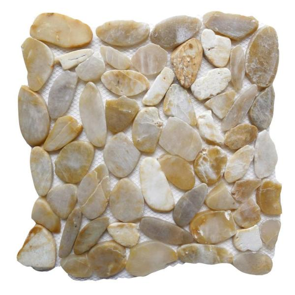 Pebbles Rock   Tile   Flooring   The Home Depot Golden Sapphire 12 in  x 12 in  Sliced Natural Pebble Stone
