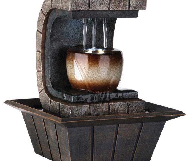 Meditation Earth Tone Fountain With Led Light