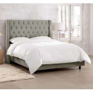 Wood   Full   Beds   Headboards   Bedroom Furniture   The Home Depot Willow Gray Full Upholstered Bed