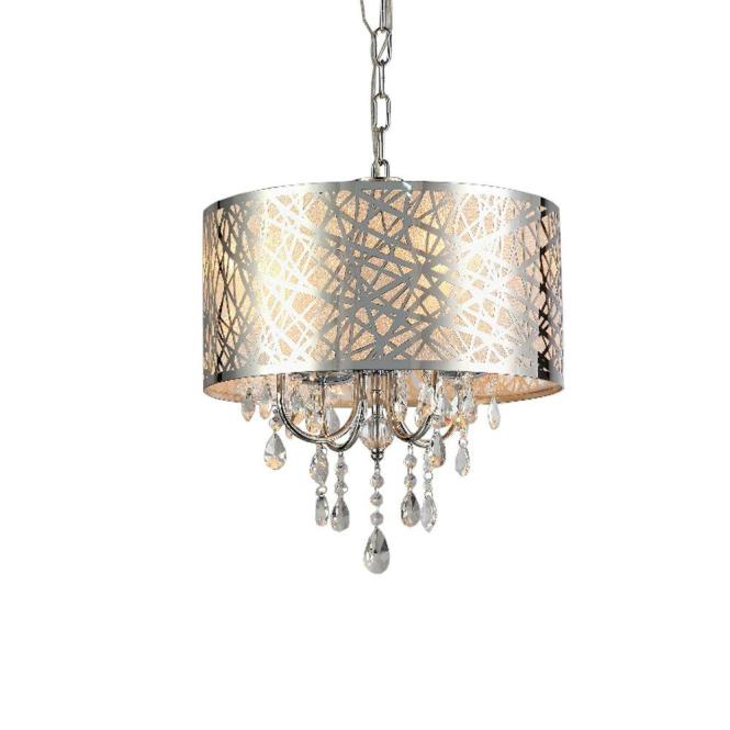 Abstract 4 Light Chrome Indoor Crystal Chandelier With Shade Rl5425 The Home Depot