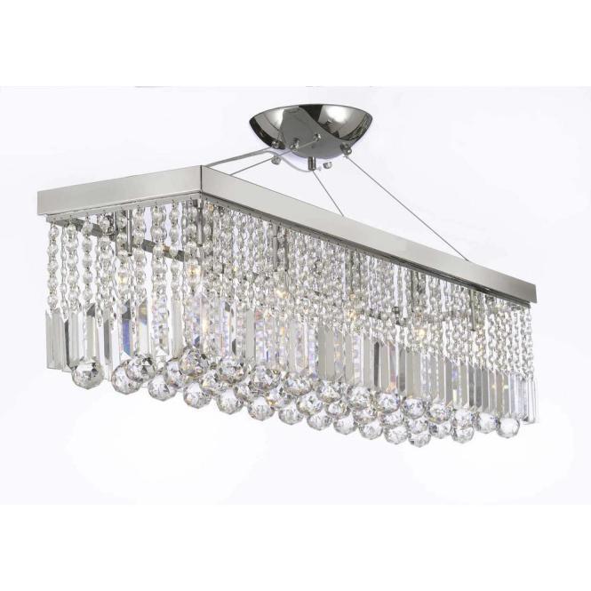 Modern 10 Light Chrome And Crystal Chandelier Pendant