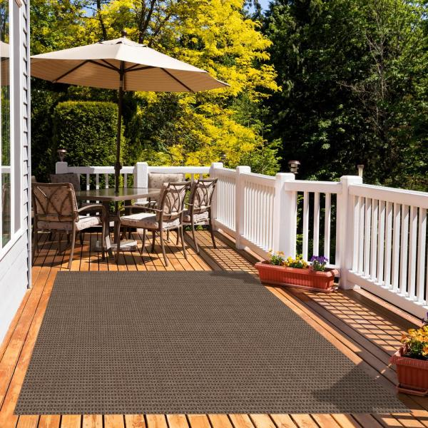 Foss Checkmate Taupe Walnut 6 Ft X 8 Ft Indoor Outdoor Area Rug C2bwc03pj3vh The Home Depot