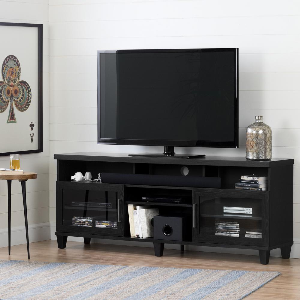 south shore adrian black oak tv stand for tvs up to 75 in