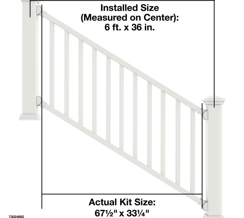 Veranda Select 3 Ft White Vinyl Stair Rail Kit With Square   Step Railings Home Depot   Tuffbilt   Rail Kit   Deck Stair   Deck   Aluminum Balusters