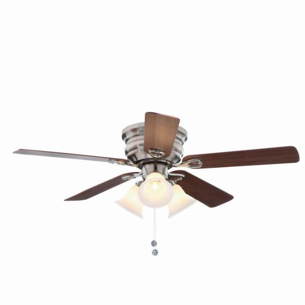 Clarkston 44 in  Indoor Brushed Nickel Ceiling Fan with Light Kit     Indoor Brushed Nickel Ceiling Fan with Light Kit
