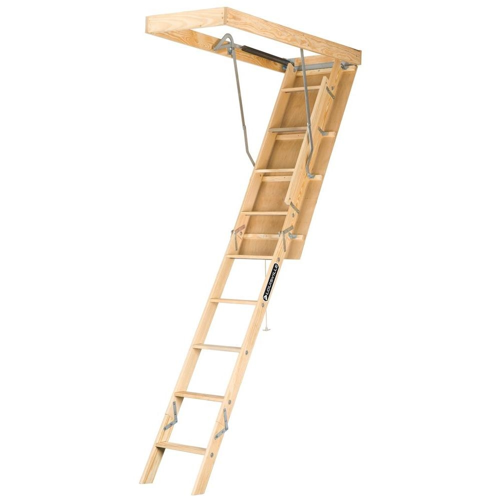 Louisville Ladder Premium Series 8 Ft 10 Ft 22 5 In X 54 In   Folding Loft Stairs With Handrail   Circle Stair   Design   Limited Space   Stairway Osha   Semi Automatic