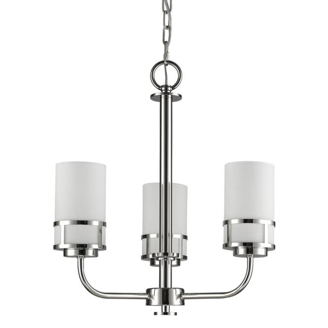 Alexis Indoor 3 Light Polished Nickel Mini Chandelier With Glass Shades