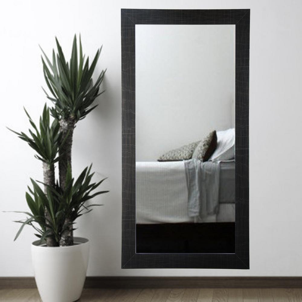 Scratched Black Tall Framed Mirror BM005T 1 The Home Depot