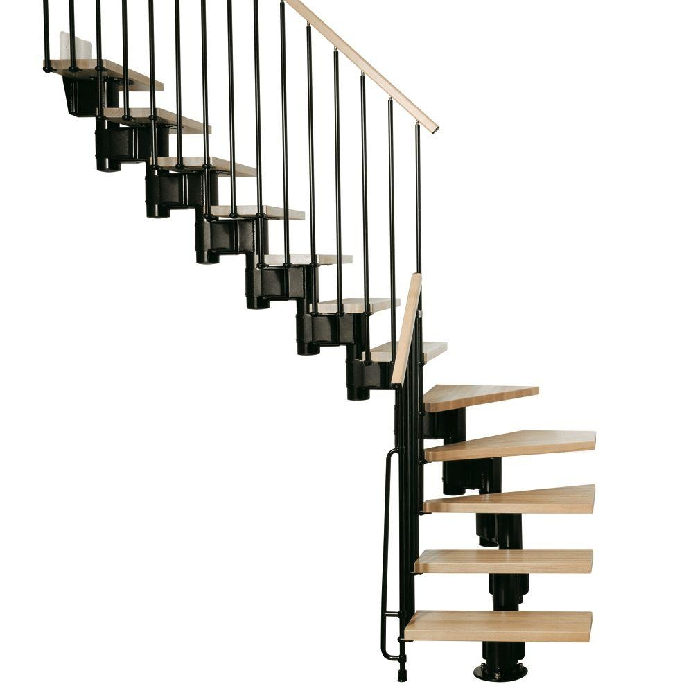 Arke Kompact 35 In Black Modular Staircase L Kit K35023 The | Prefab Wooden Stairs Home Depot | Front Porch | Stair Case | Stair Stringer | Modular Staircase | Spiral Staircase