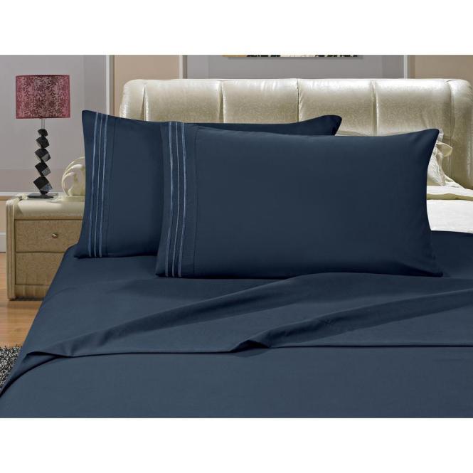 Elegant Comfort 1500 Series 4 Piece Navy Blue Triple Marrow Embroidered Pillowcases Microfiber Full Size