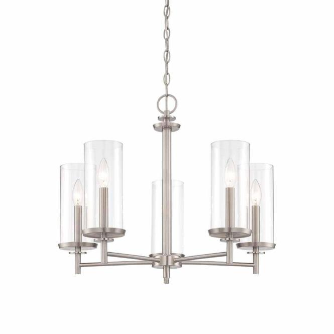 Hampton Bay 5 Light Brushed Nickel Chandelier With Clear Glass Shades