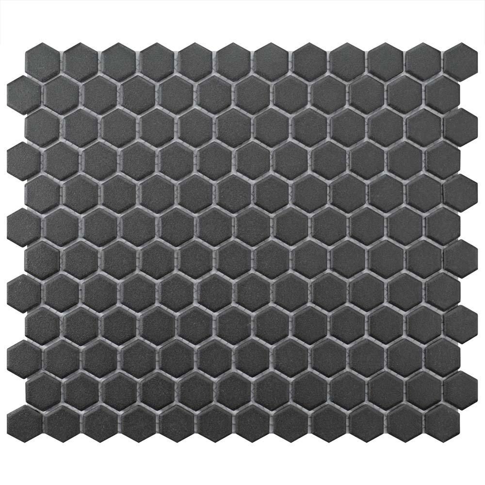 Merola Tile Gotham Hex Black  In X  In