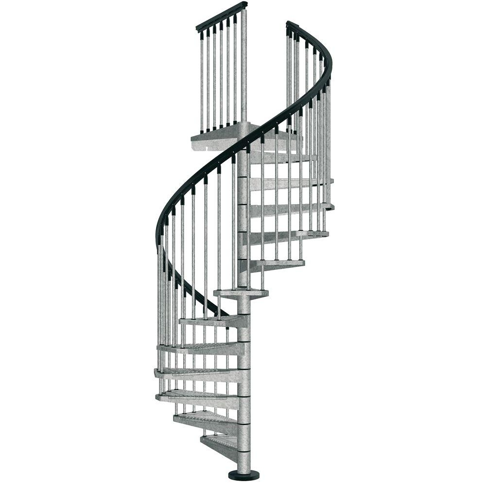 Arke Enduro 47 In Galvanized Steel Spiral Staircase Kit K05001   Steel Spiral Staircase For Sale   Wrought Iron   Staircase Design   Kits   Cast Iron   Stair Handrail