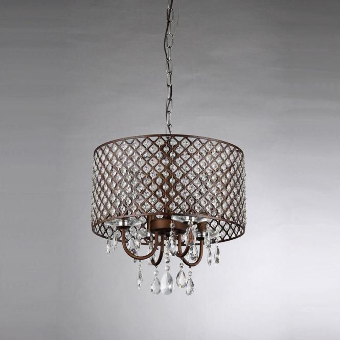 Alexia 4 Light Antique Bronze Chandelier With Shade