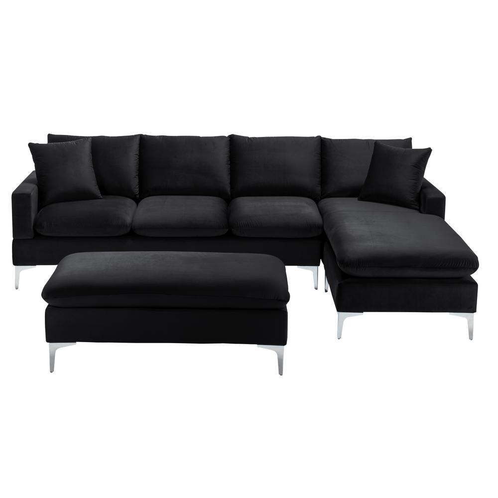 boyel living black velvet 4 seater l shaped reversible sectional sofa with metal legs wf hfsn 135bk the home depot
