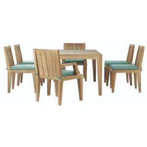 Wood Patio Furniture   Patio Dining Furniture   Patio Furniture     Bermuda 7 Piece All Weather Eucalyptus Wood Patio Dining Set with