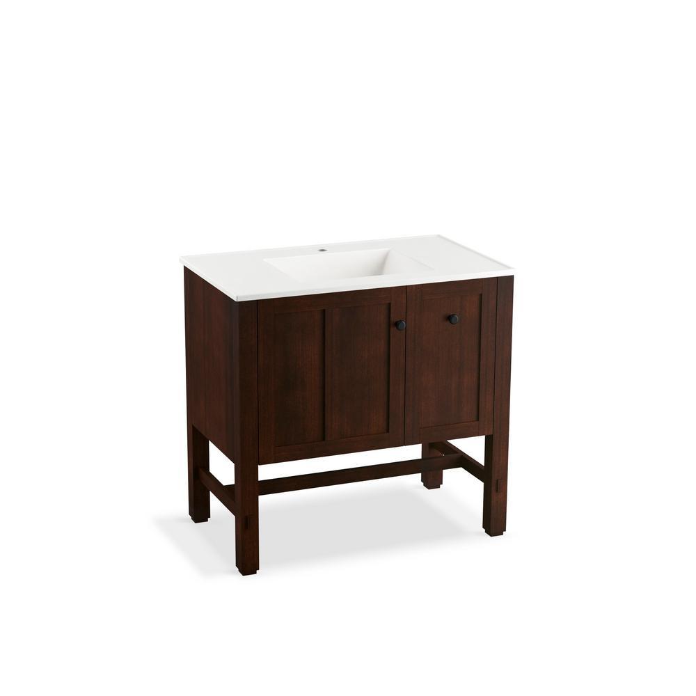 kohler tresham 36 in w vanity in woodland with vitreous china vanity top in dark