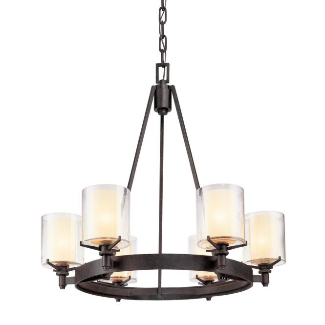 Troy Lighting Arcadia 6 Light French Iron Chandelier With Clear Glass Shade F1716fr The Home Depot