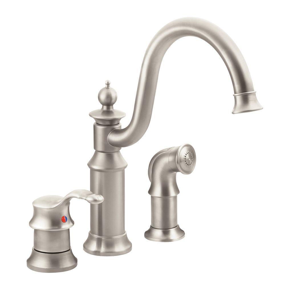 moen brushed nickel kitchen faucet