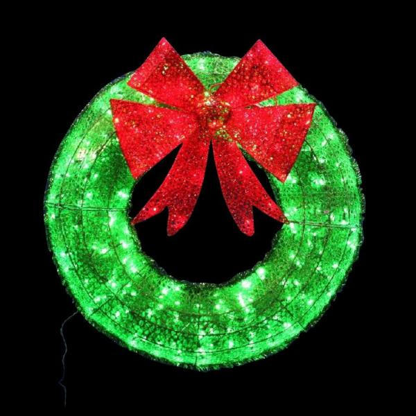 Home Accents Holiday 36 in  Green Tinsel Wreath with Twinkling     Home Accents Holiday 36 in  Green Tinsel Wreath with Twinkling Lights