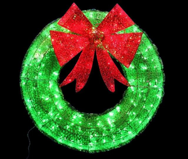 Home Accents Holiday  In Green Tinsel Wreath With Twinkling Lights
