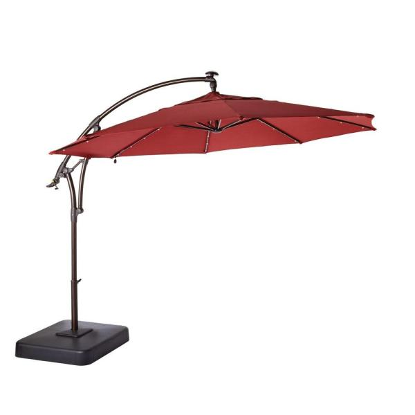Hampton Bay 11 ft  Solar Offset Patio Umbrella in Cafe YJAF052 CAFE     Solar Offset Patio Umbrella in Cafe YJAF052 CAFE   The Home Depot