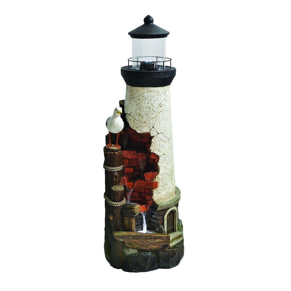 Beckett Coastal Lighthouse Fountain LED Light Waterfall Oasis Ocean Garden Decor 190598211091 EBay
