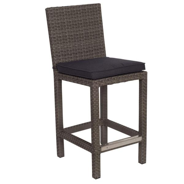 Outdoor Bar Stools   Outdoor Bar Furniture   The Home Depot Martinique Grey Patio Bar Stool with Grey Cushion  2 Pack        3