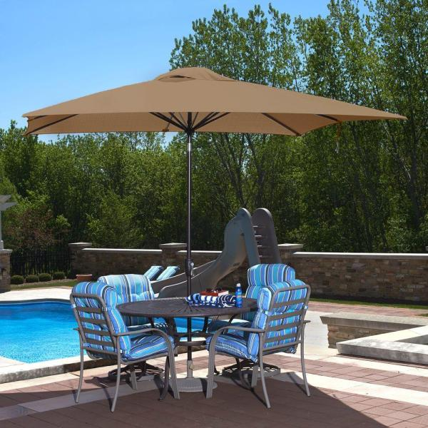 Rectangle   Market Umbrellas   Patio Umbrellas   The Home Depot Rectangular Market Push Button Tilt Patio Umbrella