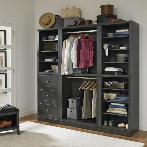 Homestyles 5th Avenue 3 Piece Closet Wall Storage Units 5436 7567 The Home Depot