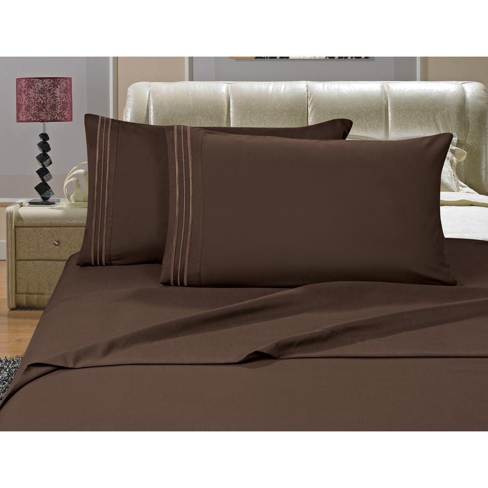elegant comfort 4 piece chocolate brown solid microfiber full sheet set v01 f chocolate the home depot
