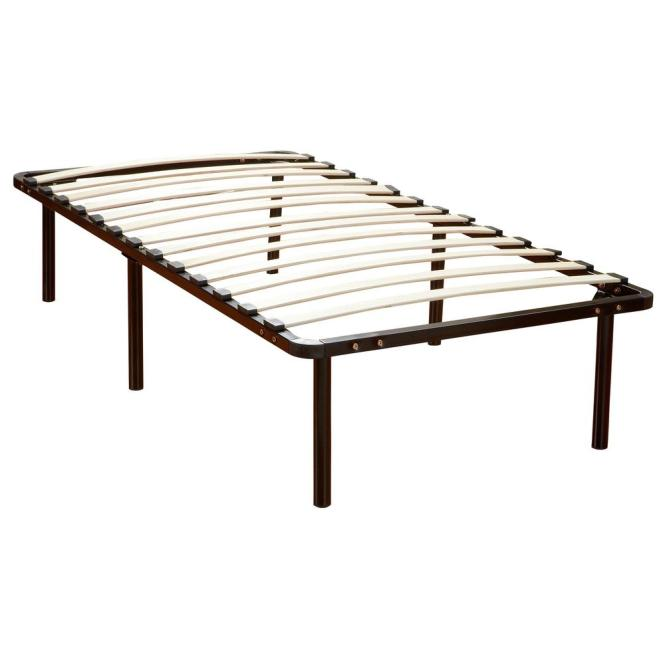 Null Europa Queen Size Wood Slat And Metal Platform Bed Frame